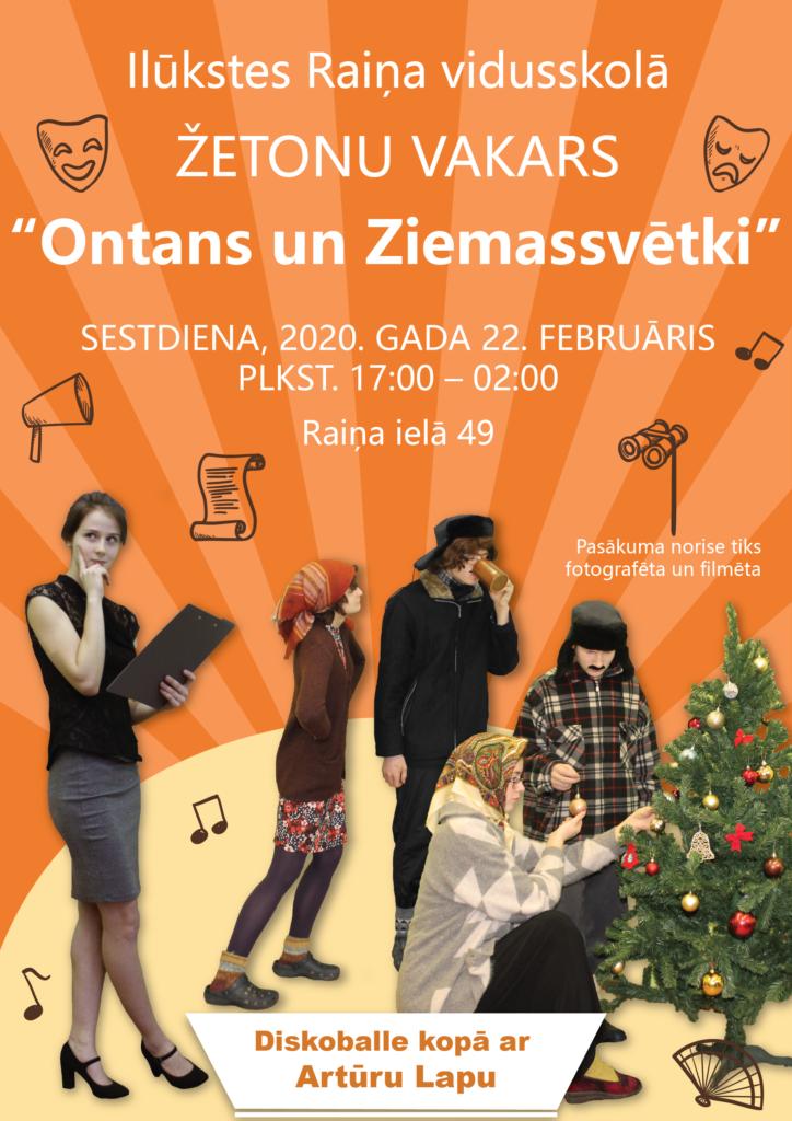 """IRV Žetonu vakars 2020 """"Ontans un Ziemassvētki"""" afiša"""